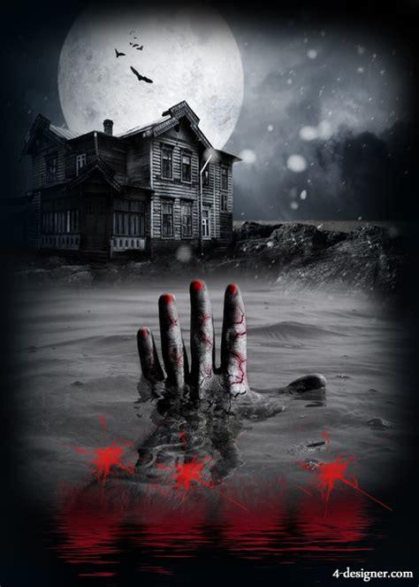 horror house design 4 designer horror house scene design template psd layered material
