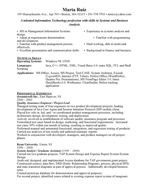 quality assurance engineer resume sle resume template qa engineer worksheet printables site