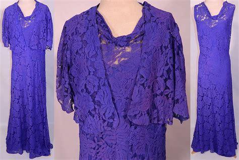 net pattern gown vintage sheer purple lace floral pattern bias cut dress