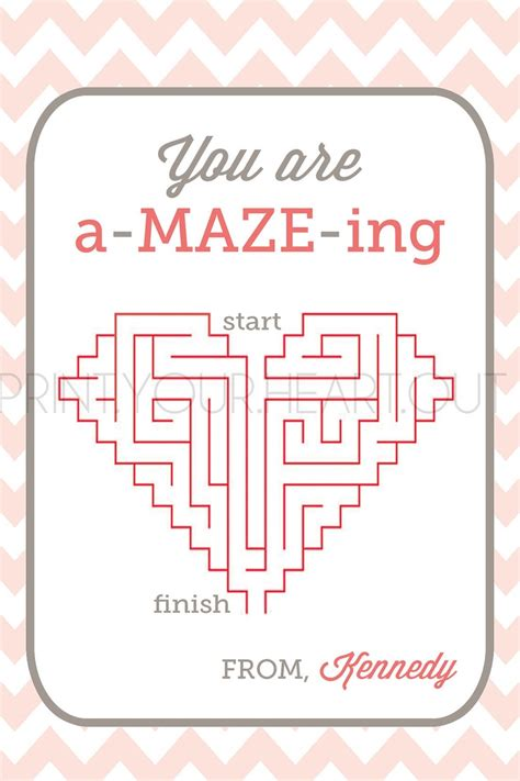 printable valentine s maze you are a maze ing valentine card holiday party