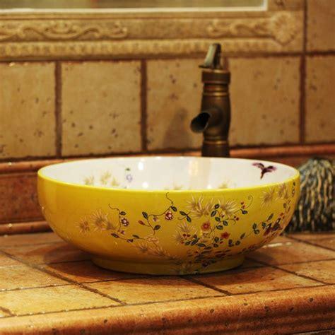 bathroom bowls beautiful bathroom decoration with round floral porcelain