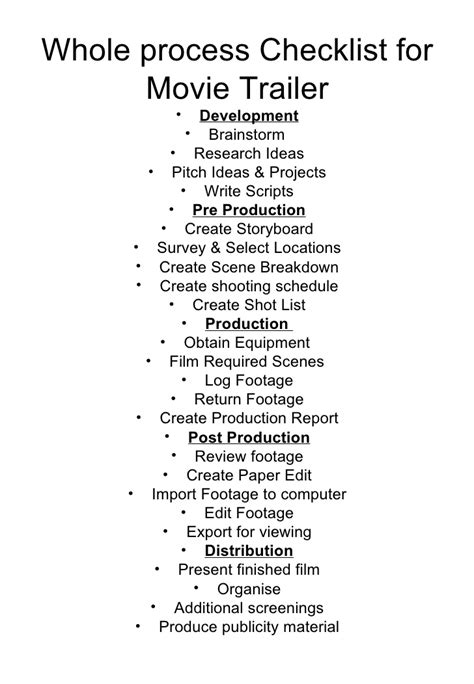 whole process film making checklist
