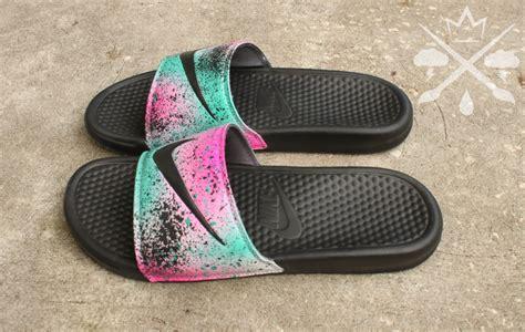 custom slide sandals nike custom lebron 8 miami nights benassi swoosh slide sandals
