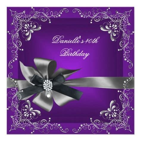 purple and silver reserved cards template 10 images about purple black birthday invitations