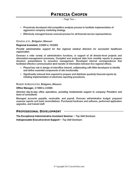 executive assistant resume exles resume exle executive assistant careerperfect