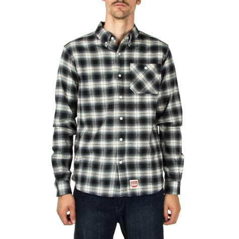 supply co ombre plaid flannel shirt black