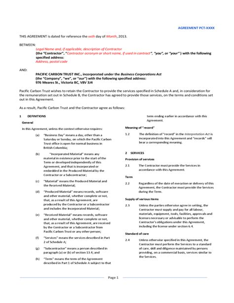 General Service Contract Template general service agreement sle free