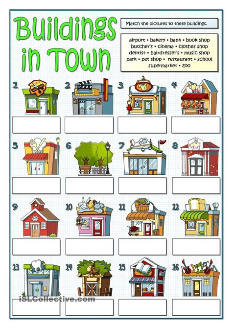 shops in my town worksheet free esl printable worksheets buildings in town social studies pinterest building