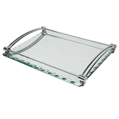 Deckenle Glas by C1940 S Deckled Edge Mirrored Vanity Tray At 1stdibs