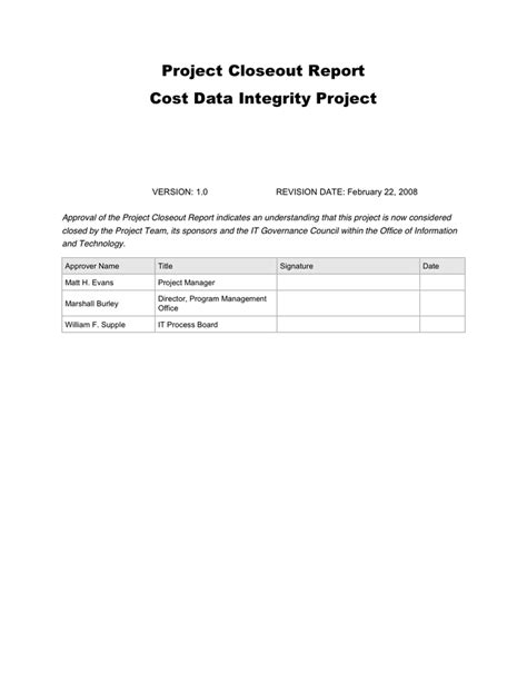 Project Closeout Report Template Pdf Project Closeout Report In Word And Pdf Formats