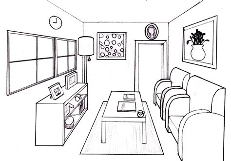 draw a room drawing 1 one point perspective