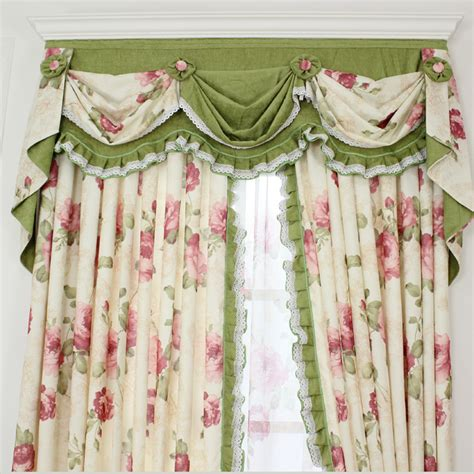 shabby chic curtain ideas shabby chic curtain with floral pattern and green color
