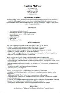 Aml Analyst Sle Resume professional aml analyst templates to showcase your talent myperfectresume