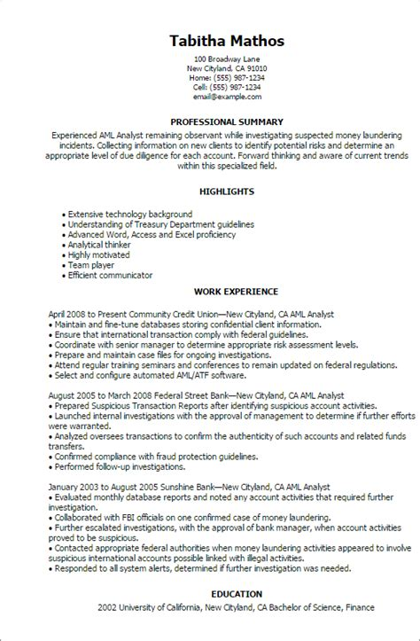 Compliance Analyst Cover Letter by Aml Resume Resume Ideas