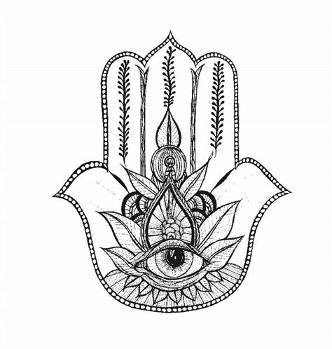 free coloring pages of drawing hamsa