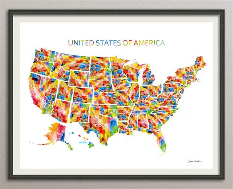 state wall art printable united states usa state map 8x10 art print poster
