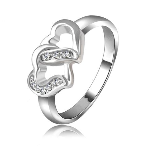 love ring real platinum plated double heart shaped