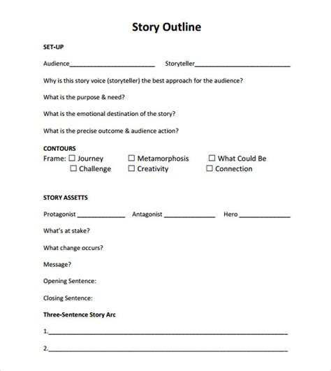 story outline template for story outline template template business