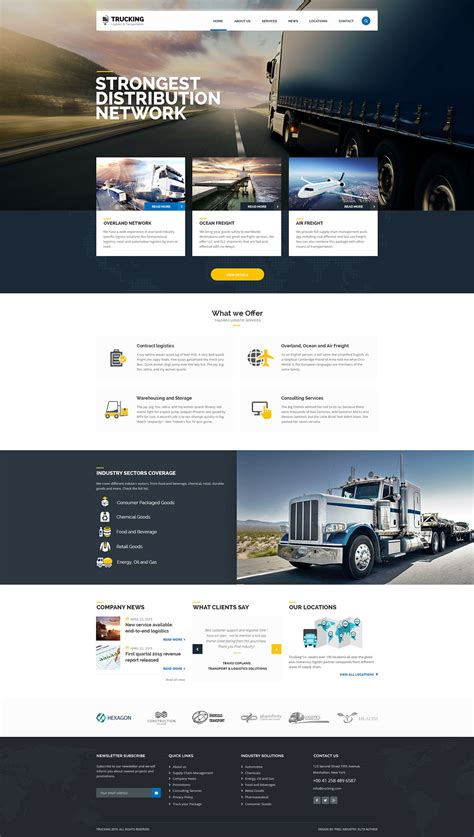 website templates for logistics company trucking transportation logistics html template on behance