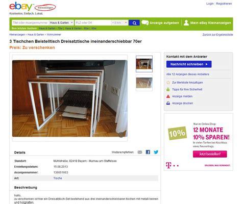 ebay kleinanzeigen beistelltisch satztische beistelltische nesting tables 3er holz mit