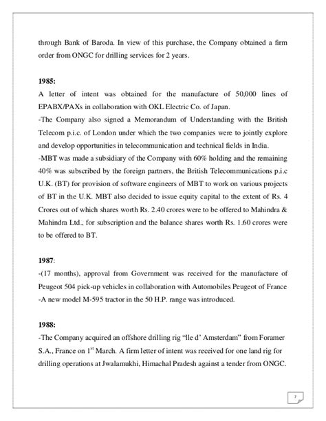 Letter Of Intent To Purchase Diesel Project Report On Mahindra Mahindra Ltd Tractors Division