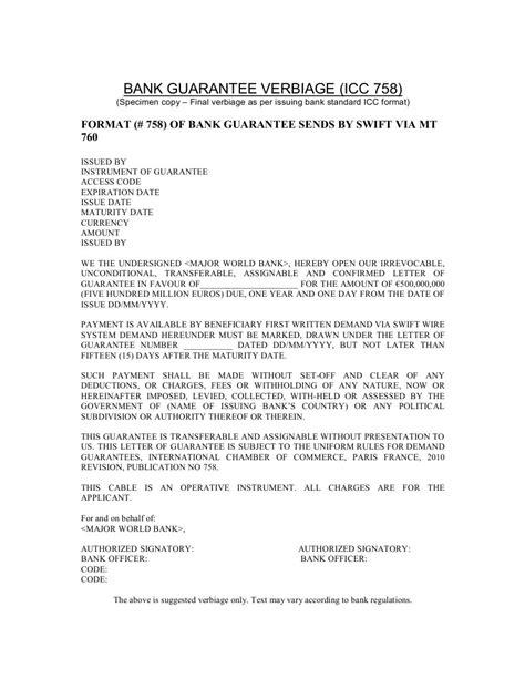 Bank Letter Of Payment Guarantee bank guarantee verbiage icc 758