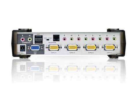 Murah Kvm Aten 4 Port Vga Audio Switch Vs0401 4 port ps 2 usb vga audio kvmp switch cs1734a aten desktop kvm switches