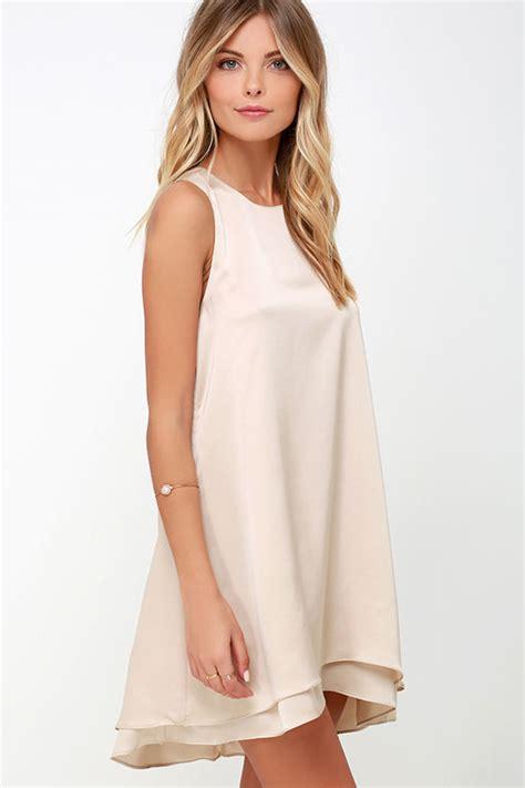 beige swing dress cute beige dress swing dress sleeveless dress 54 00
