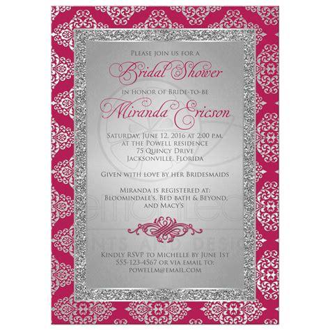 Bridal Shower Pink Medium bridal shower invitation berry pink silver gray damask faux glitter scroll