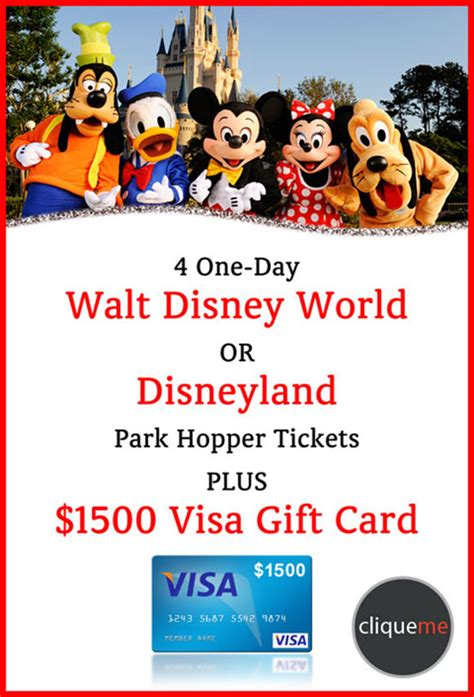Disney Park Gift Card - disney park hopper tickets and visa gift card giveaway