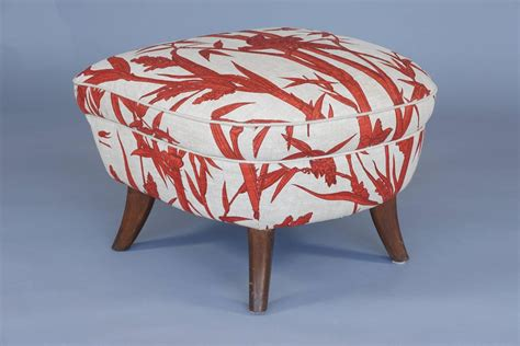 Modern Red And White Boudoir Chair With Ottoman For Sale