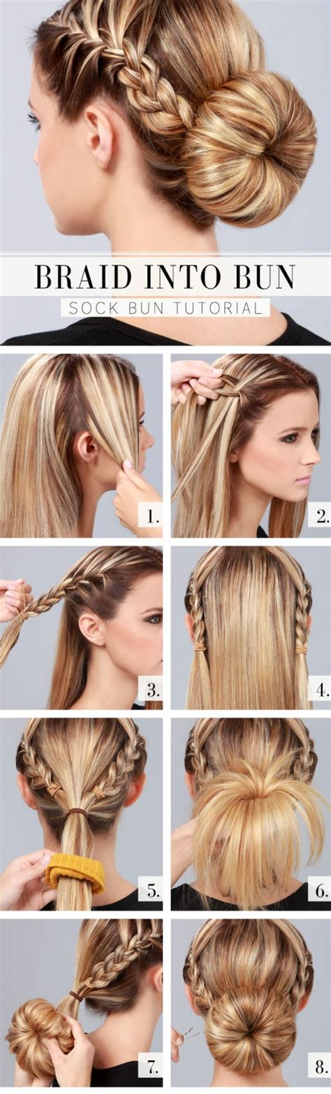 step by step directions for styling short hair how to make gorgeous braid into bun hair style step by