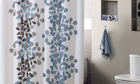 leaf print shower curtain modern leaf print shower curtain groupon goods