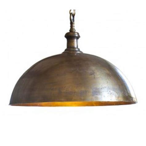 industrial style dome pendant light in brass finish