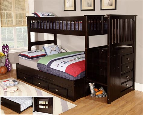 wood bunk beds twin over full bedroom glossy teak wood twin over full bunk bed with