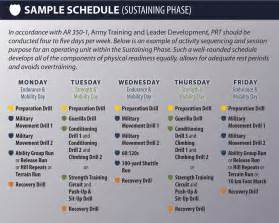 army pt calendar template prt 8 sle schedule sustaining phase