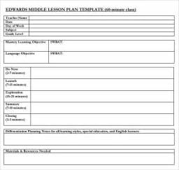 lesson plan template for high school sle middle school lesson plan template 6 free