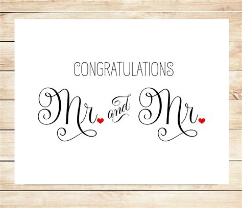 wedding congrats card template printable mr and mr wedding card marriage wedding card