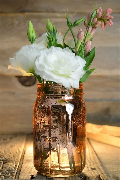 Pink Rose Gold Mercury Glass Mason Jars   Mercury glass