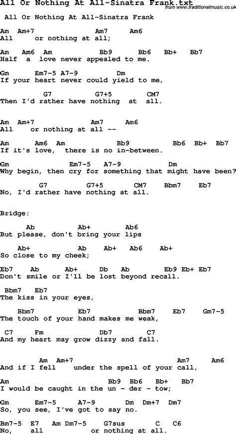 Or Lyrics Jazz Song All Or Nothing At All Sinatra Frank With Chords Tabs And Lyrics From Top Bands And