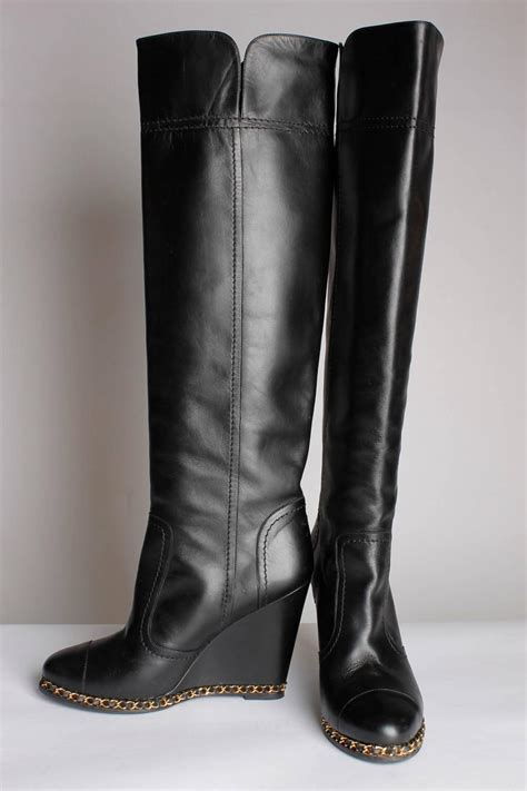 chanel chain wedge overknee boots black at 1stdibs