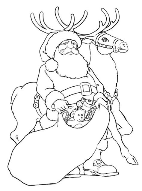 Reindeer Template Coloring Pages Colouring Pages Santa