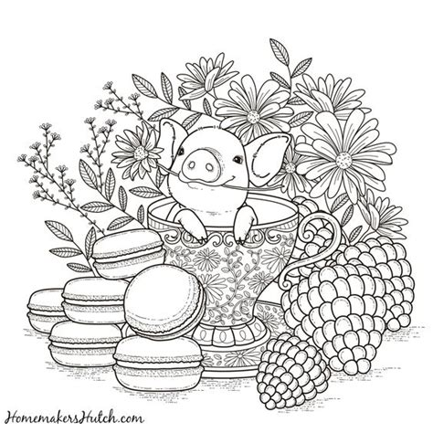 pig in a tea cup adult coloring page coloring adult