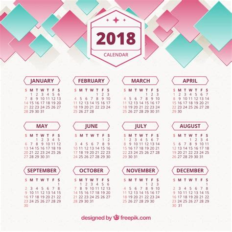 Calendã 2018 Vetor 2018 Abstract Calendar Vector Free