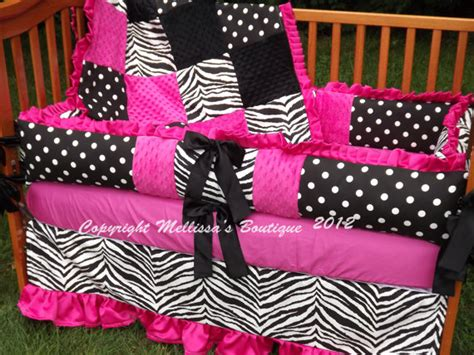 pink and black zebra bedding custom hot pink black and white zebra ruffled crib bedding