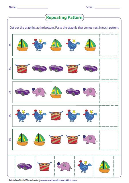 pattern activities preschool cut and paste pattern worksheets search results