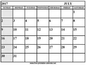Printable July 2017 Calendar July Calendar 2017 Free Printable Calendar