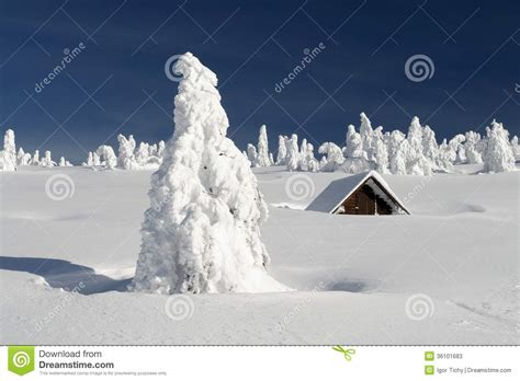 snowy plain   snowbound hut stock image image