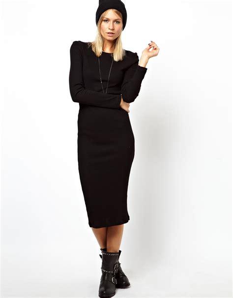 Dress Bebe Premium 20 lyst asos midi ribbed bodycon dress with sleeve in