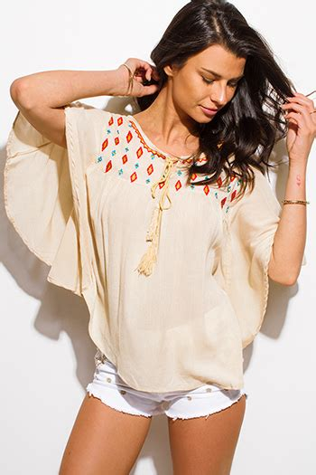 Wst 6523 Print Blouse White Ethnic Sm white sequined dolman sleeve shoulder tunic top 71584